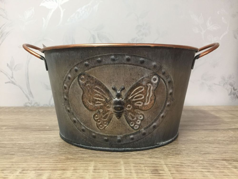 Vintage Butterfly Tin Small Planter 16 cm GREY